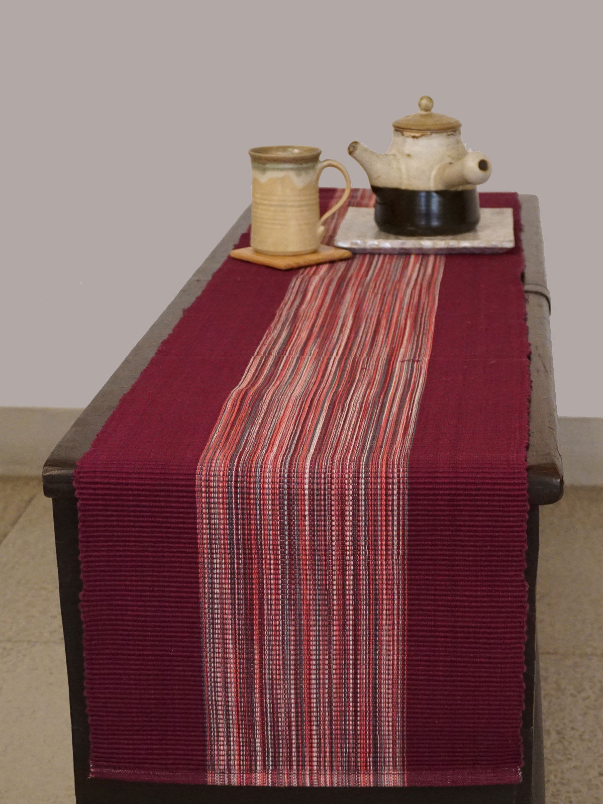 Indian August pink shades ribbed cotton table runner
