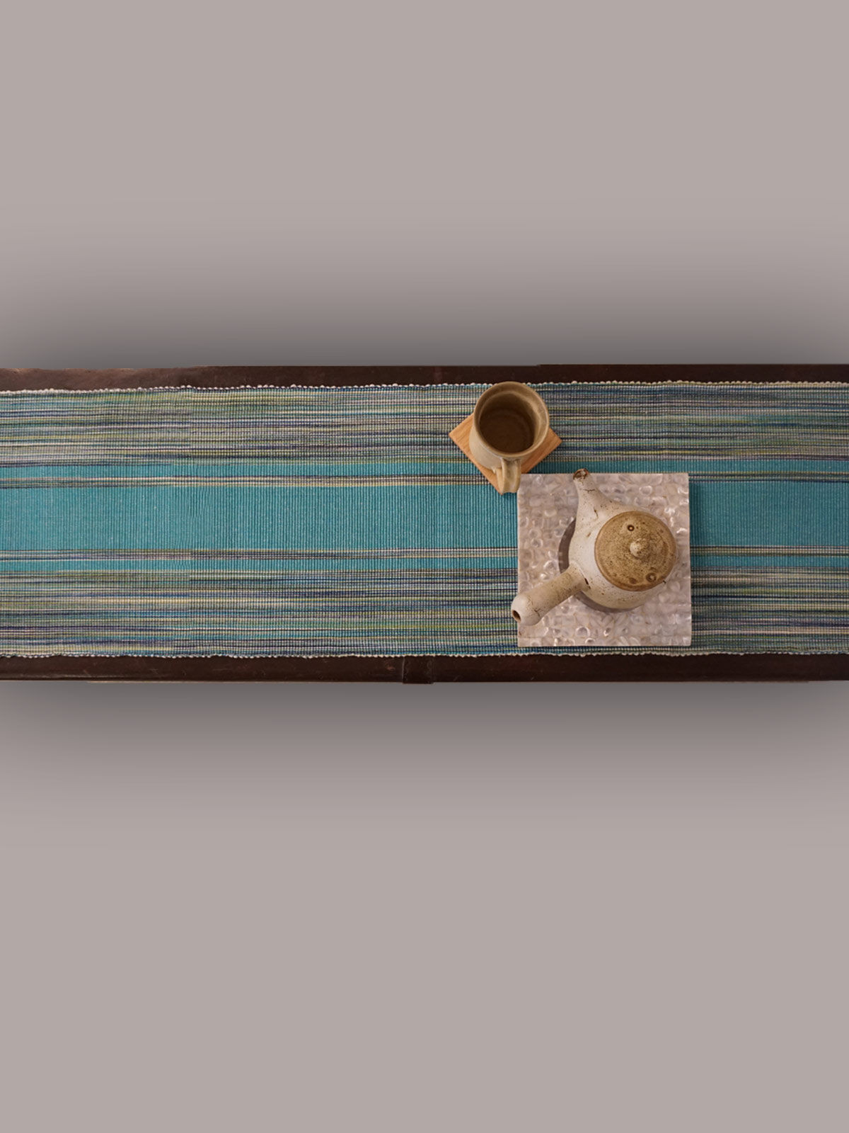 Indian August sky blue ribbed cotton table runner