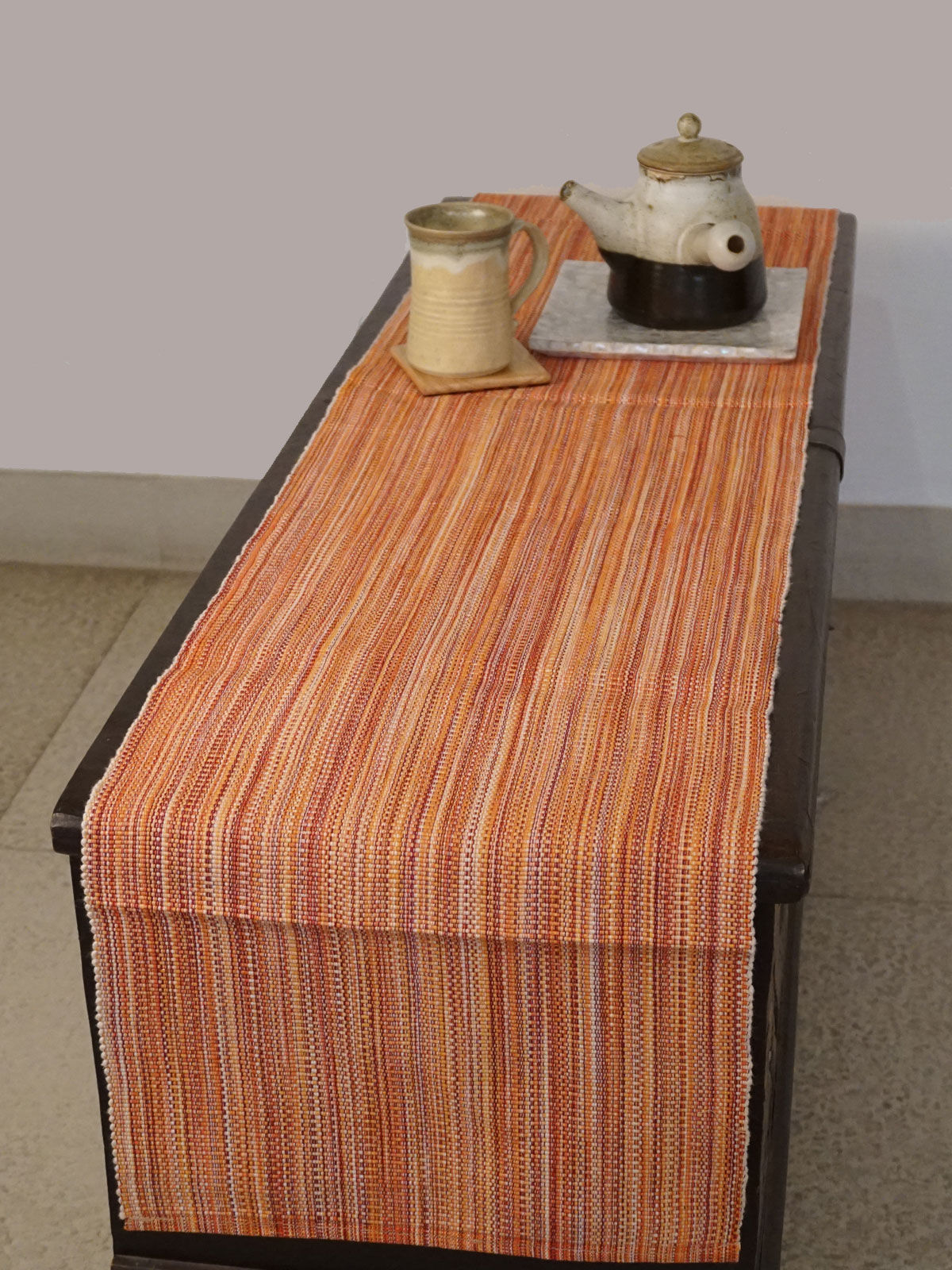 Indian August peach ribbed cotton table runner