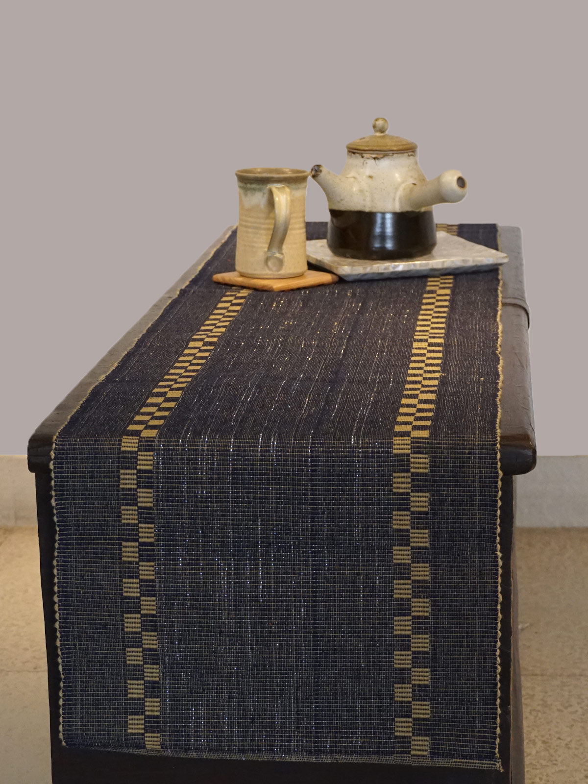 Indian August black ribbed cotton table runner