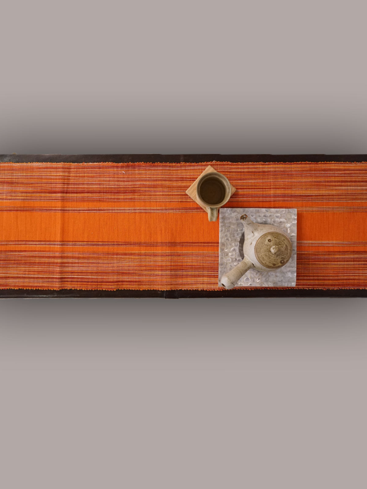 Indian August orange ribbed cotton table runner