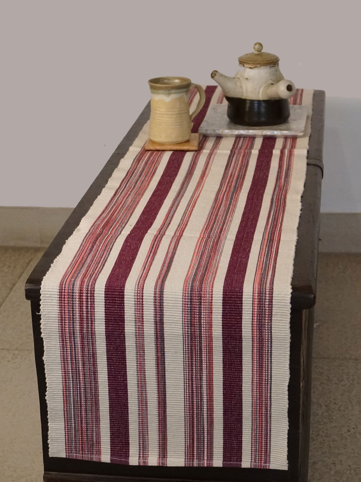 Indian August white pink ribbed cotton table runner