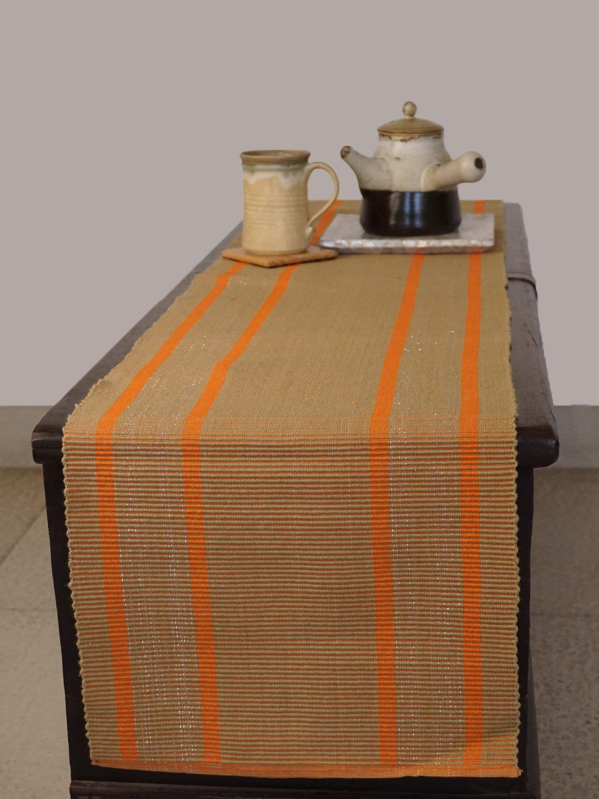 Indian August beige ribbed cotton table runner