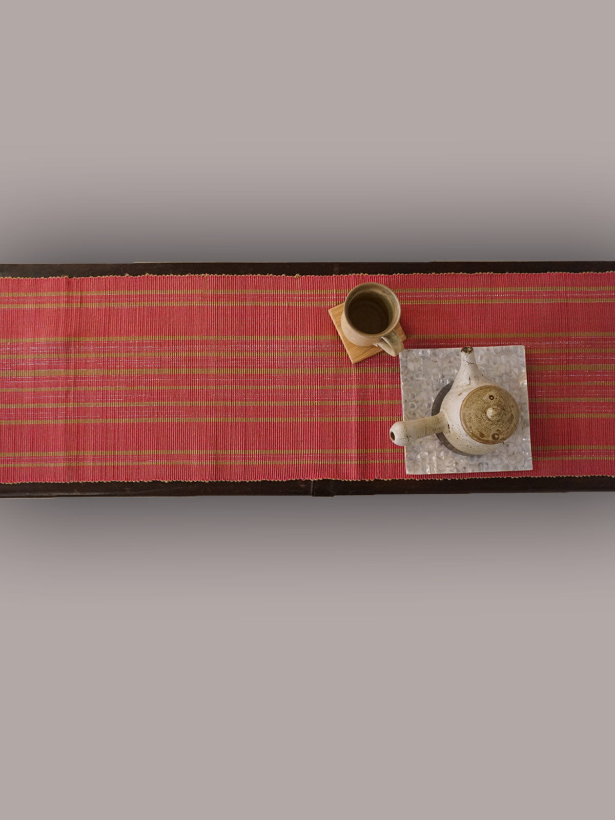 Indian August yellow pink ribbed cotton table runner