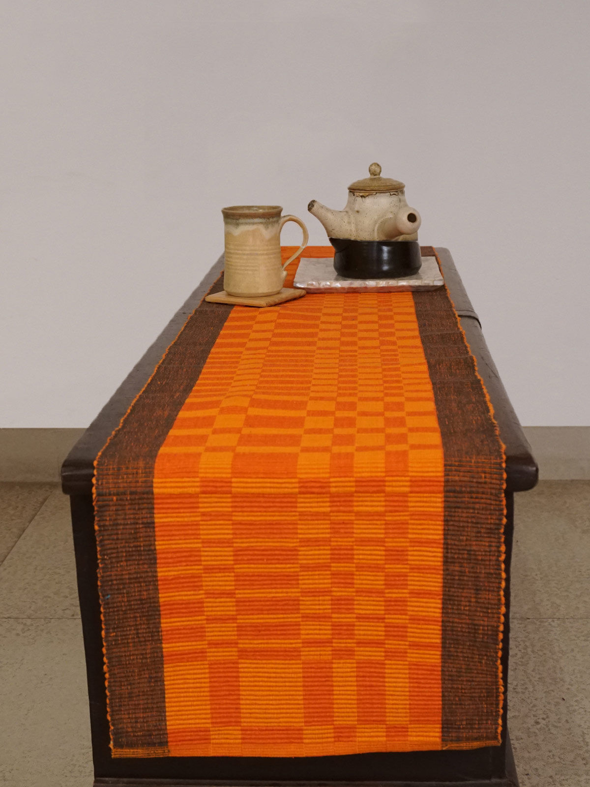 Indian August orange maroon ribbed cotton table runner