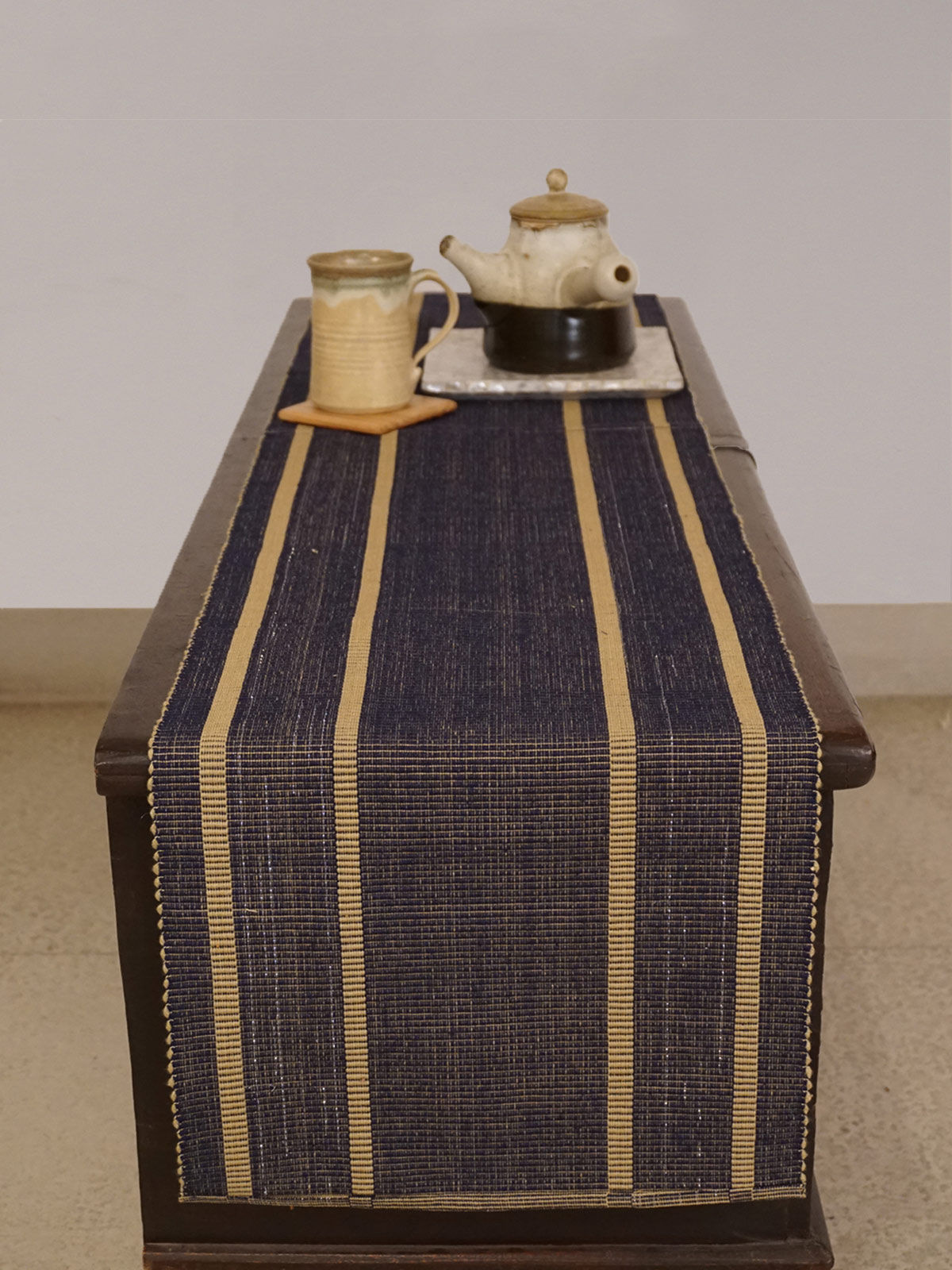 Indian August indigo beige ribbed cotton table runner
