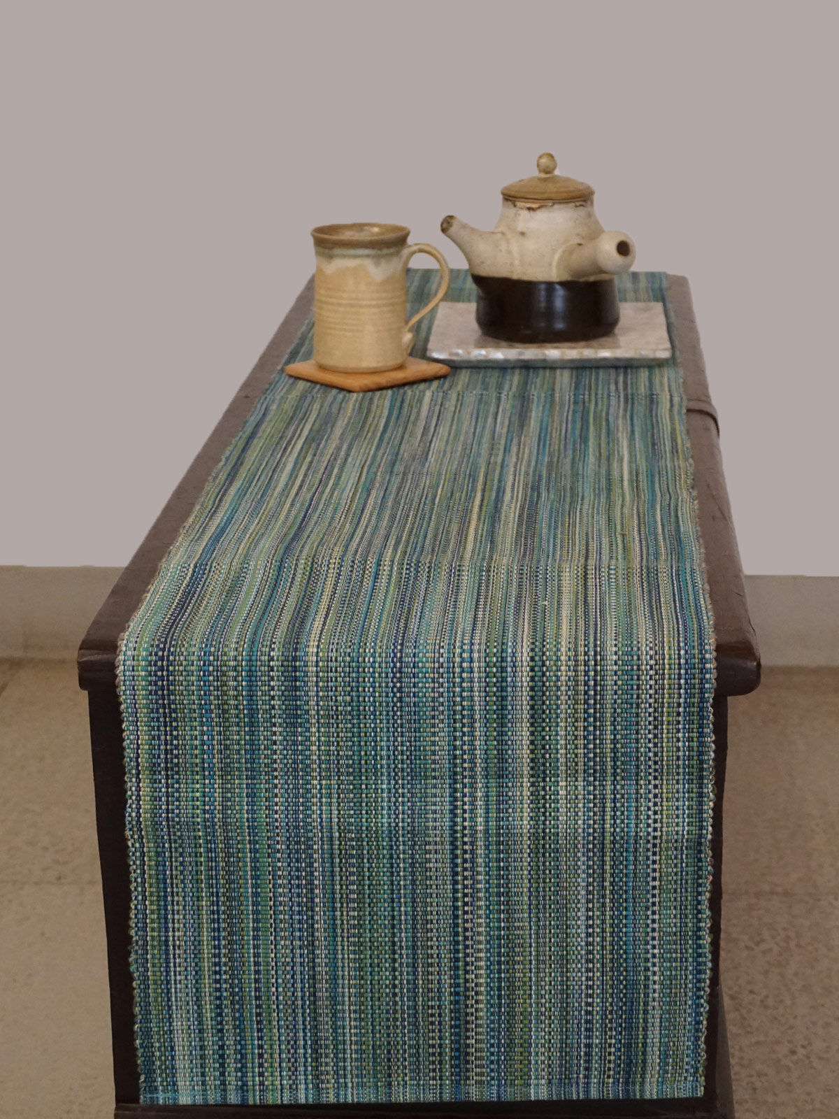 Indian August multicolored ribbed cotton table runner