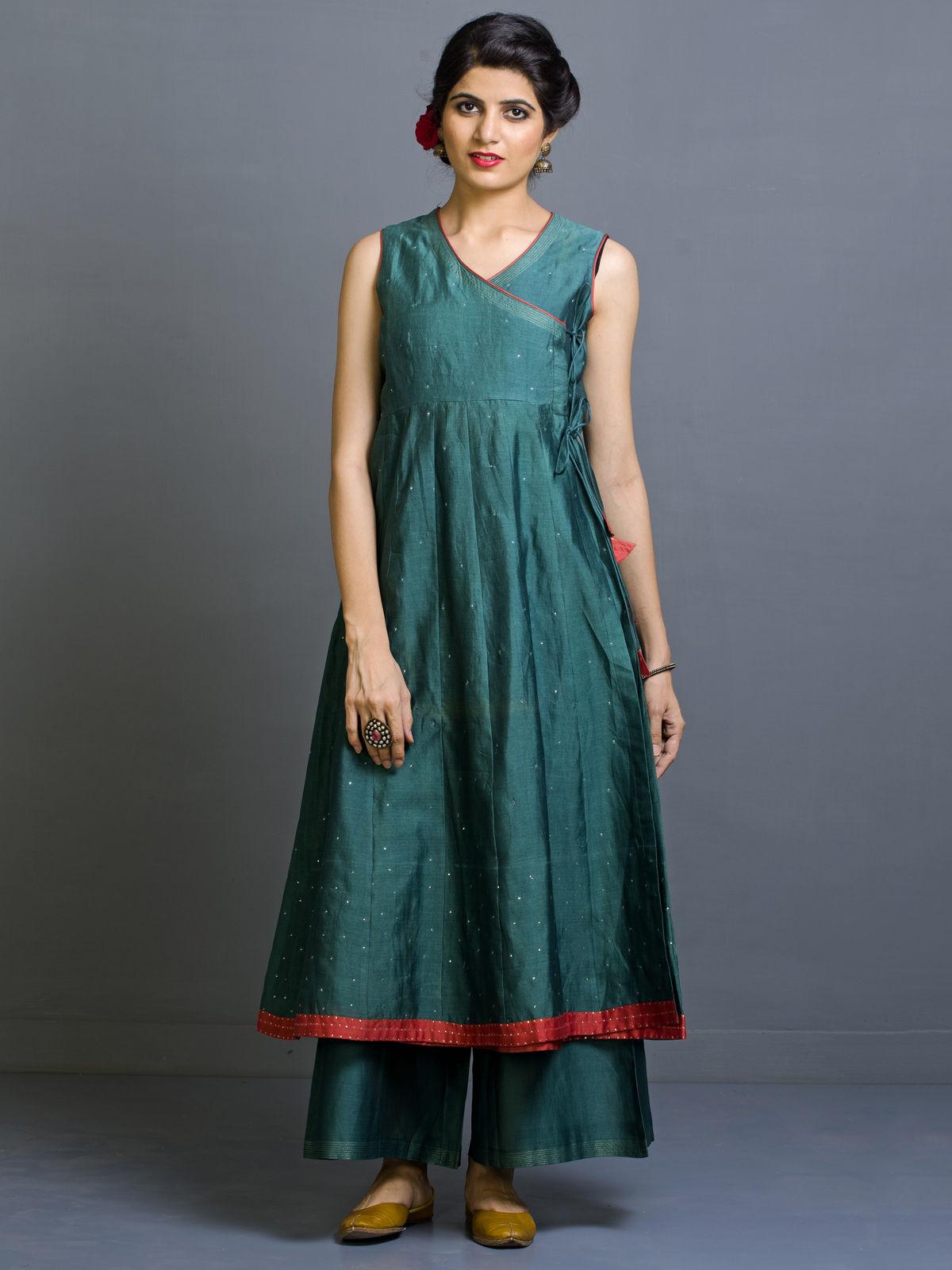 Akhdir Chanderi Angrakha Long Kurta