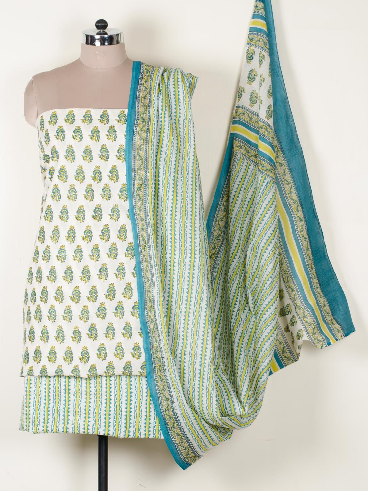 Green mul cotton dress material With Dupatta