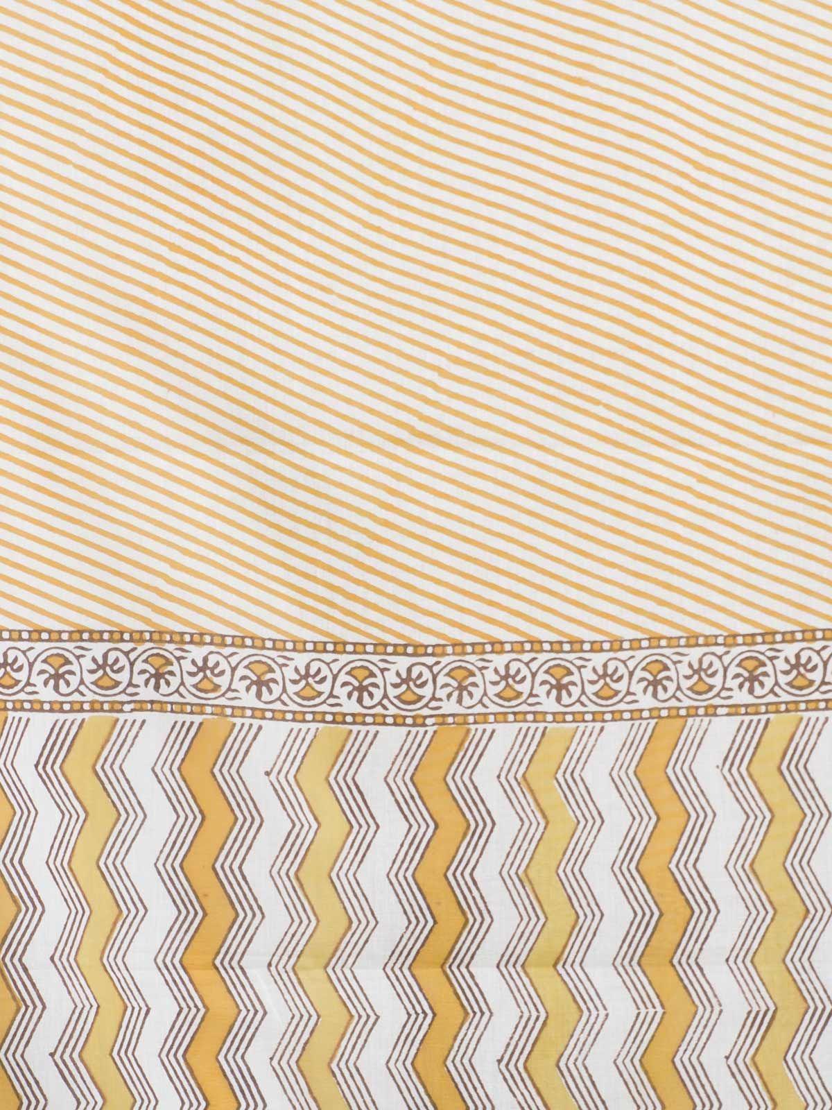Yellow stripes  block printed cotton dupatta