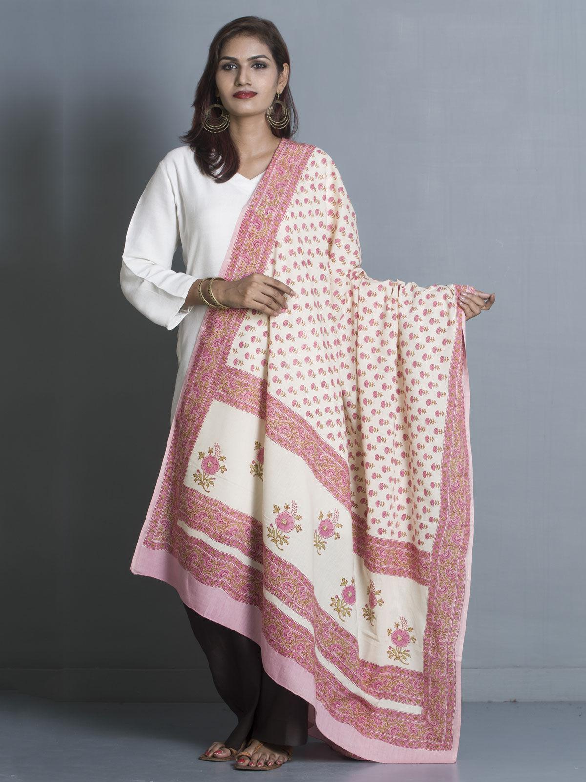pink cotton block print dupatta