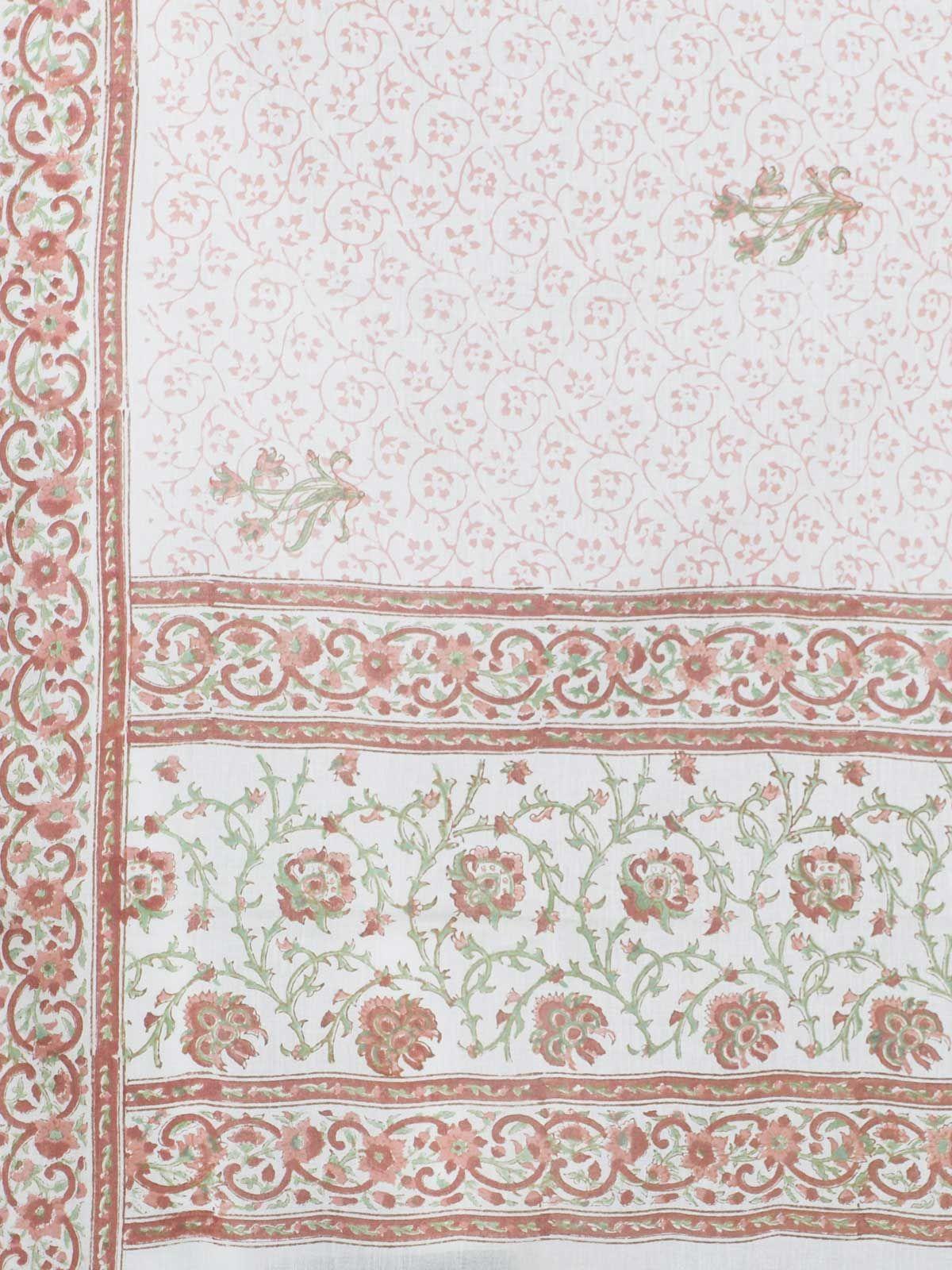 Light pink cotton block print dupatta