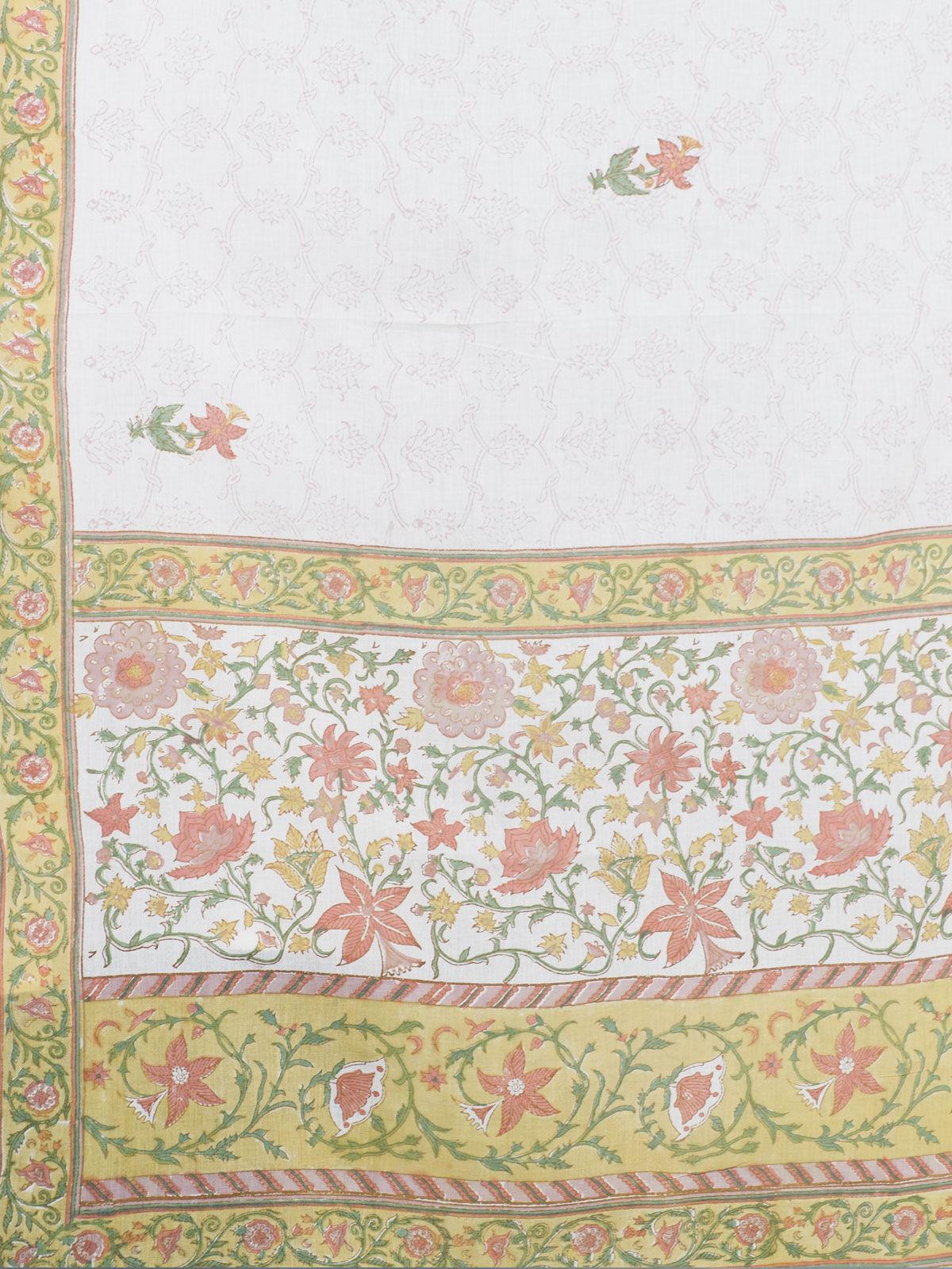 Yellow cotton block print dupatta