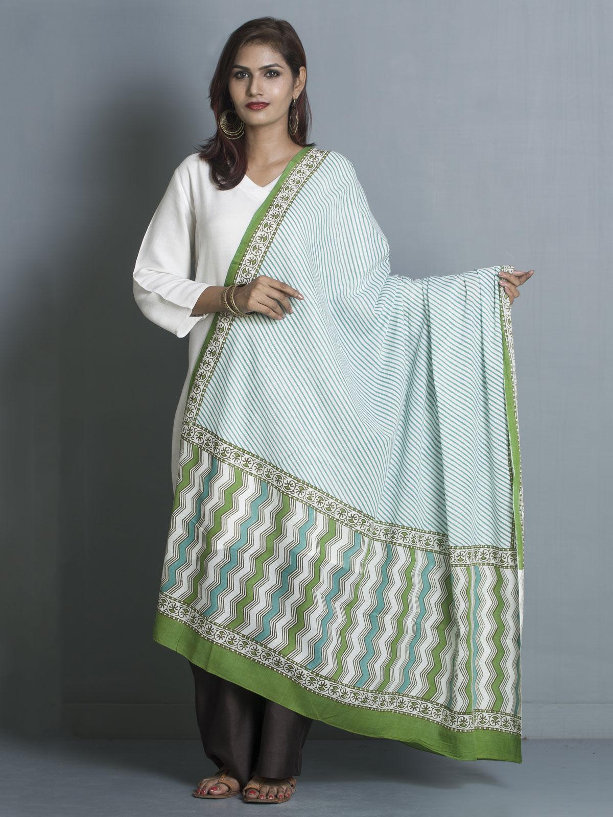 Green stripes  block printed cotton dupatta