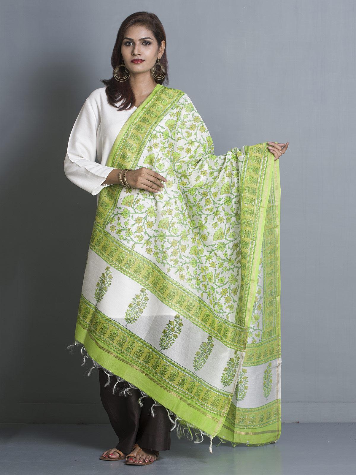 Green Chanderi Block Print Dupatta