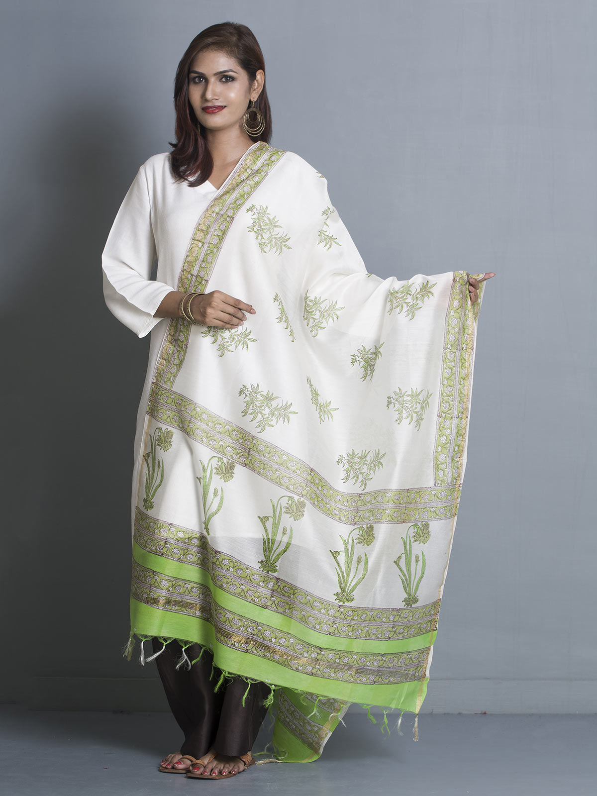 White Chanderi Block Print Dupatta
