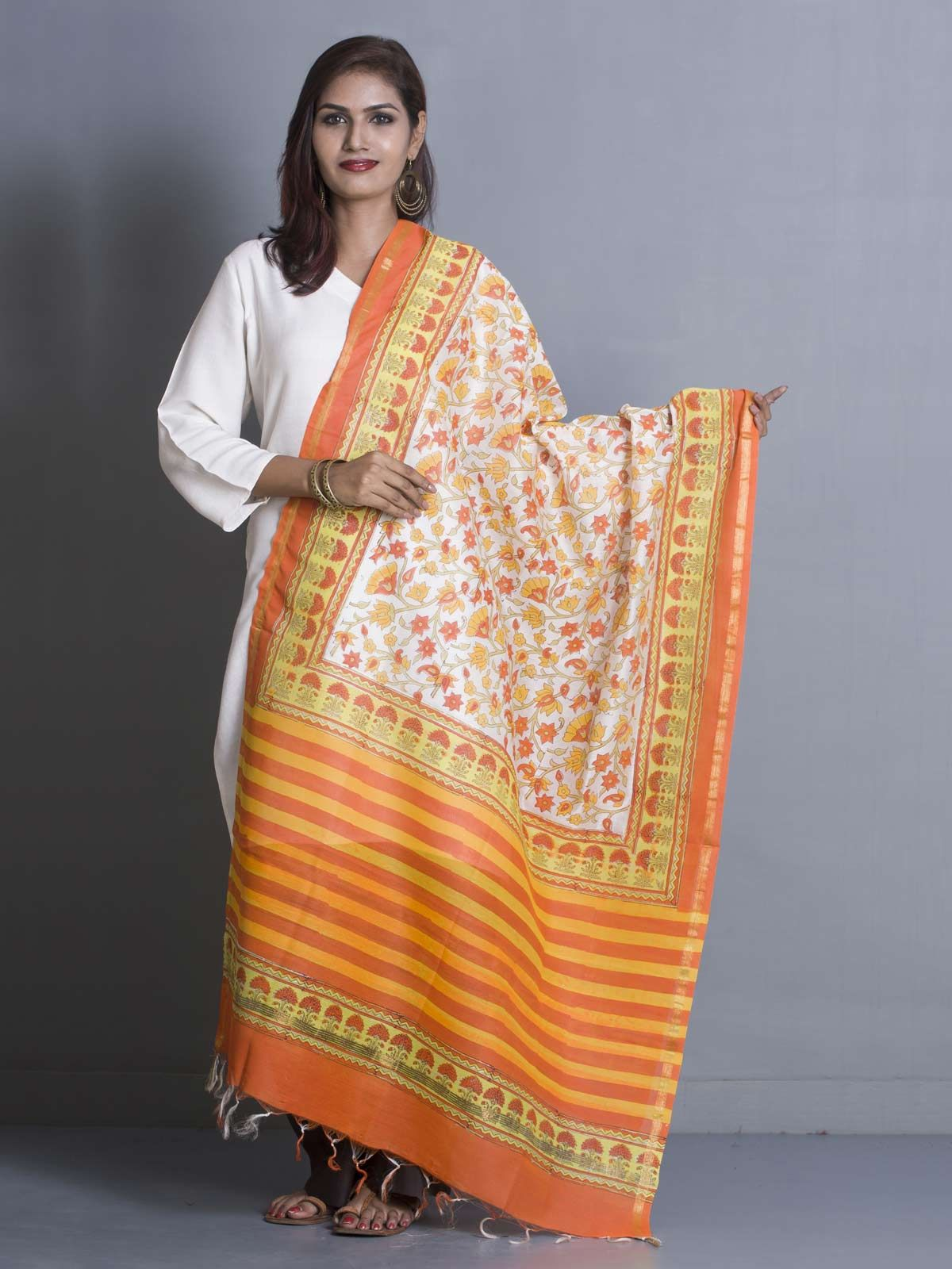 Orange Chanderi Block Print Dupatta