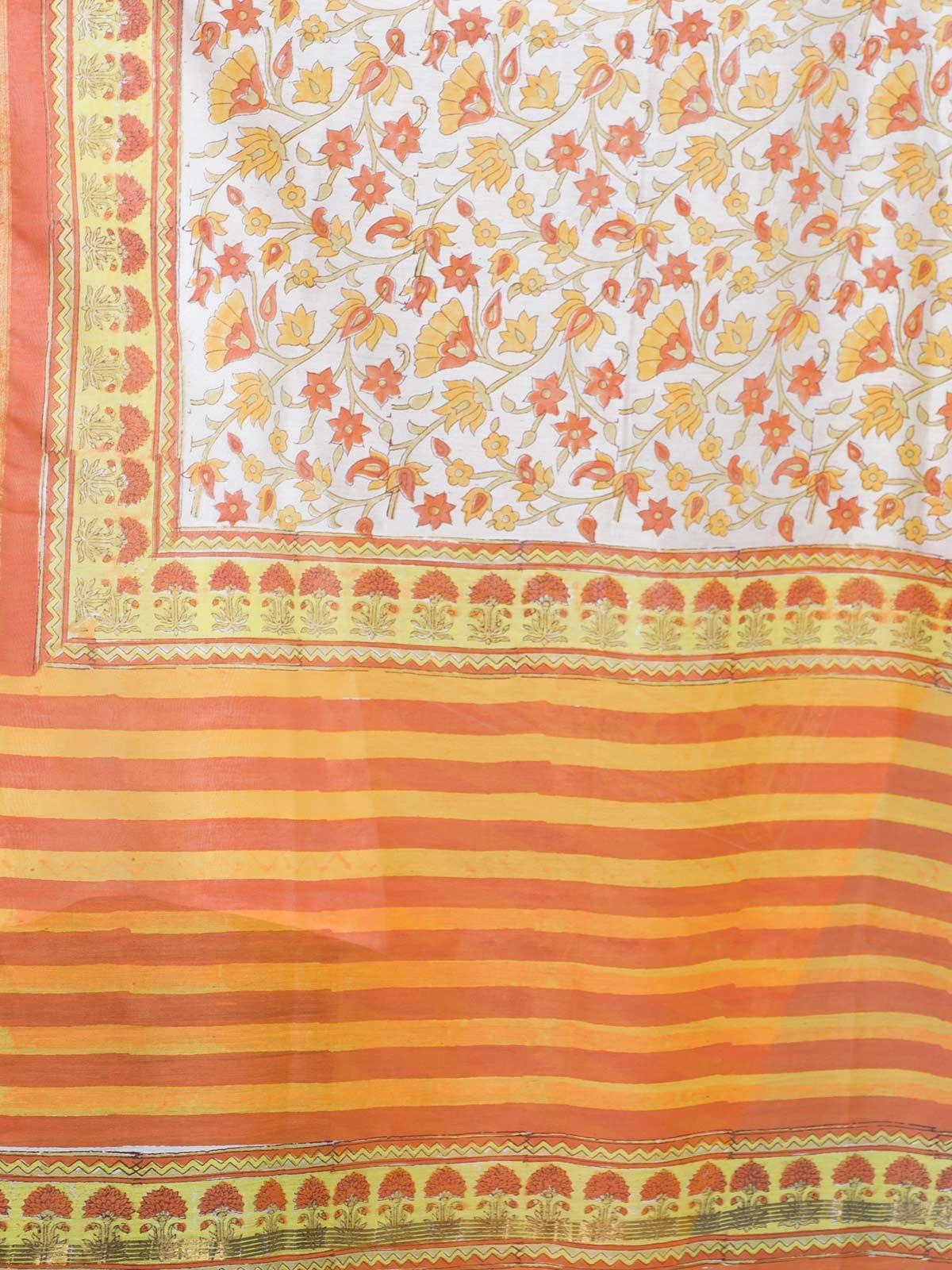 Orange Chanderi Block Print Dupatta