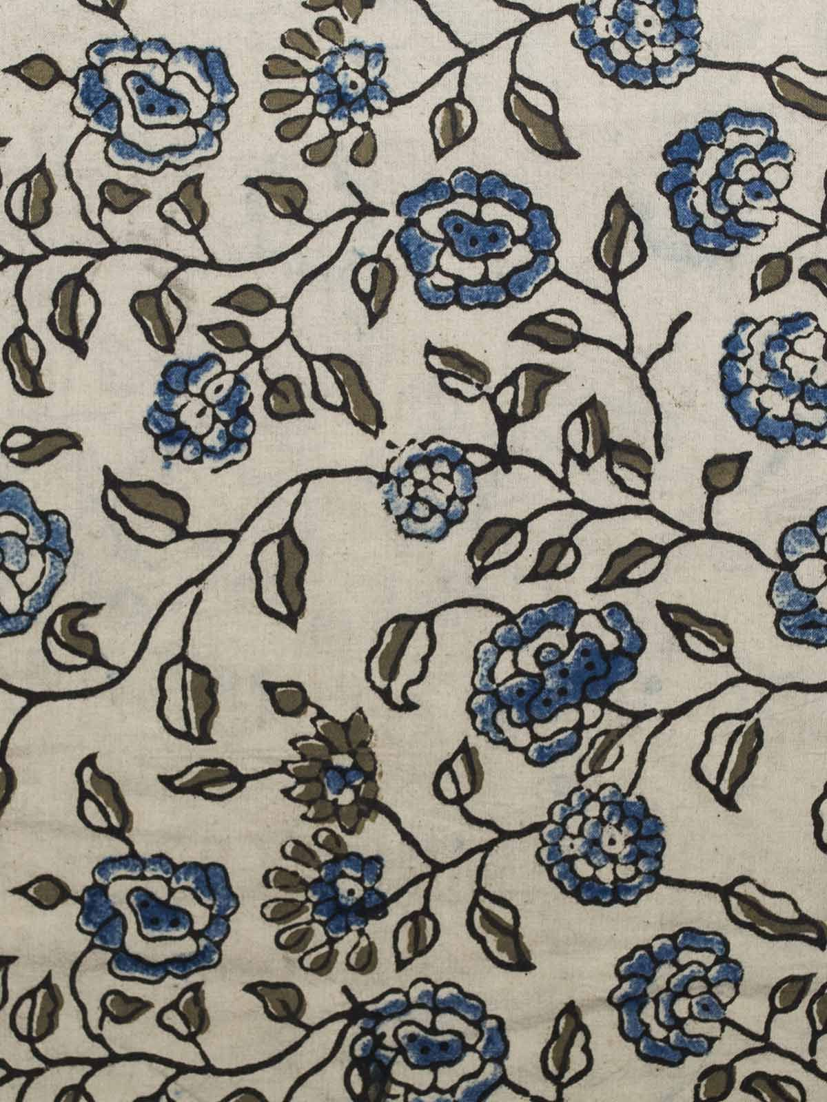 White and Blue Block Print Cotton Fabric