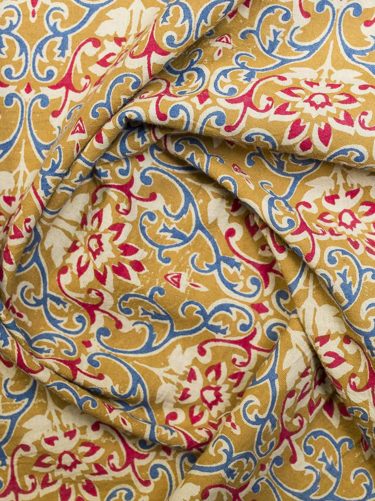 Multicolour Block Print Cotton Fabric