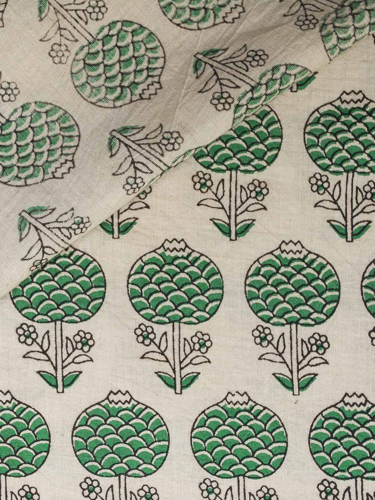 White and Green Block Print Cotton Fabric