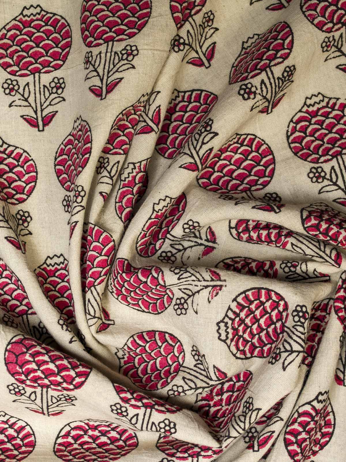 White and Red Block Print Cotton Fabric