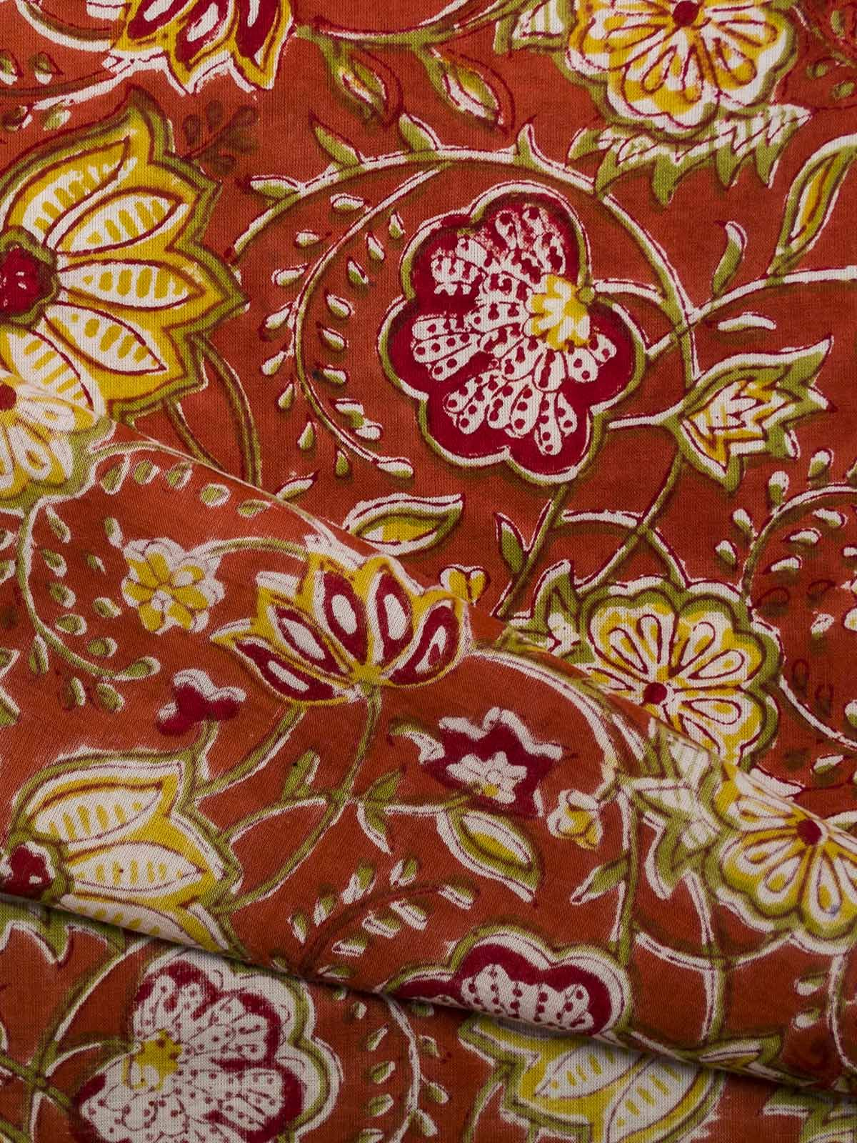 Rust Orange Block Print Cotton Fabric