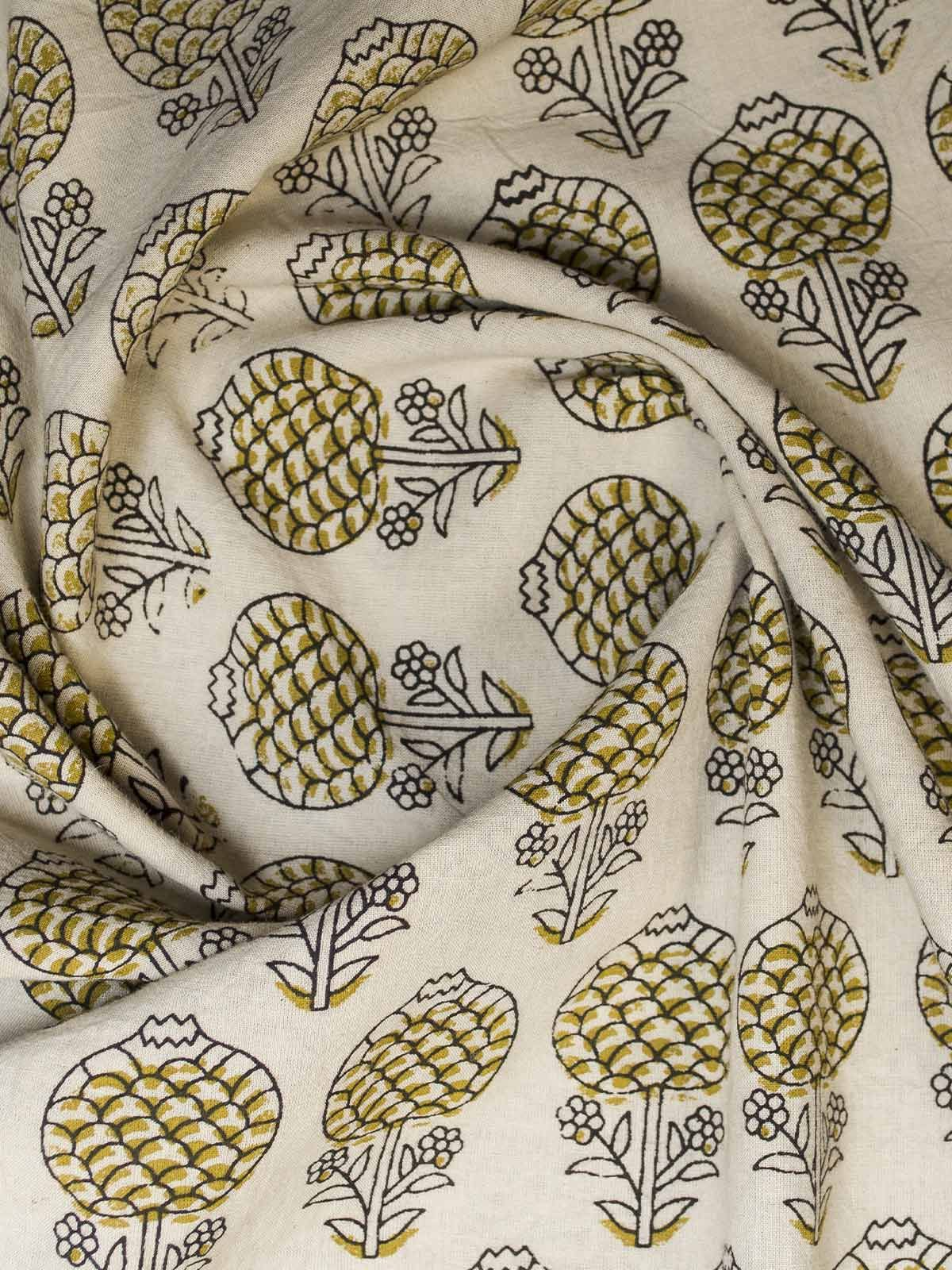 White and Yellow Block Print Cotton Fabric