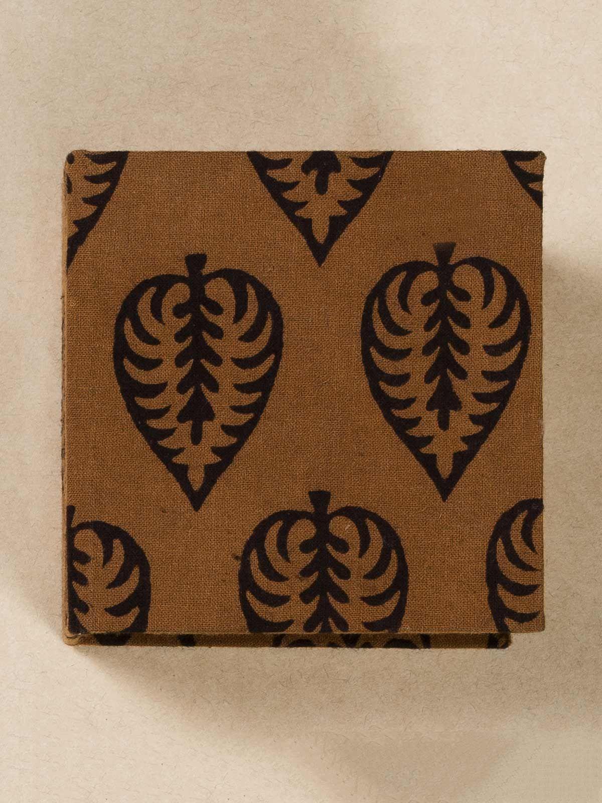 Coffee Block Print Fabric Memo Box