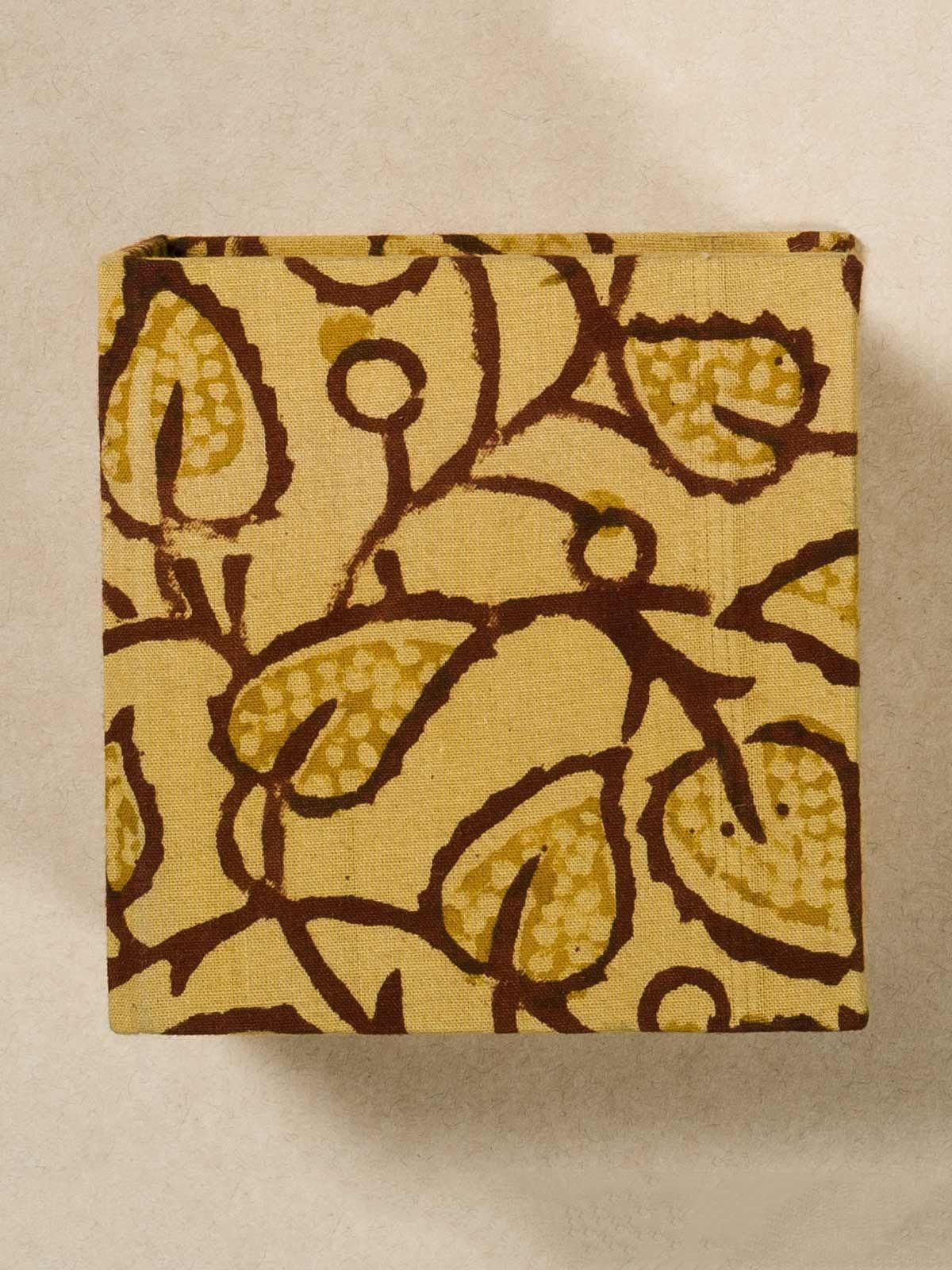 Yellow Block Print Fabric Memo Box
