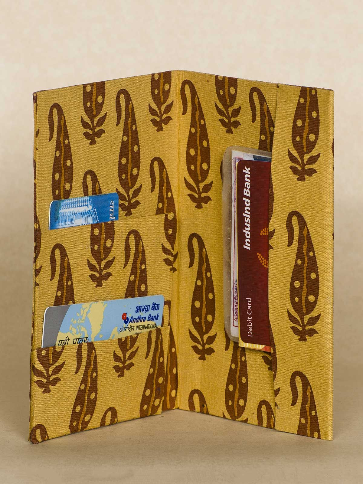 Wine Block Print Fabric Passport Holder