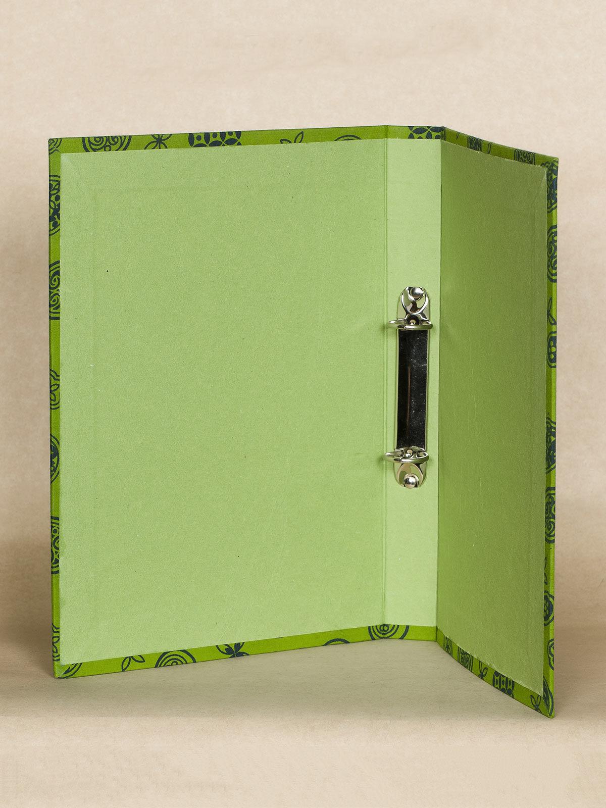Green Block Print Fabric Ring File