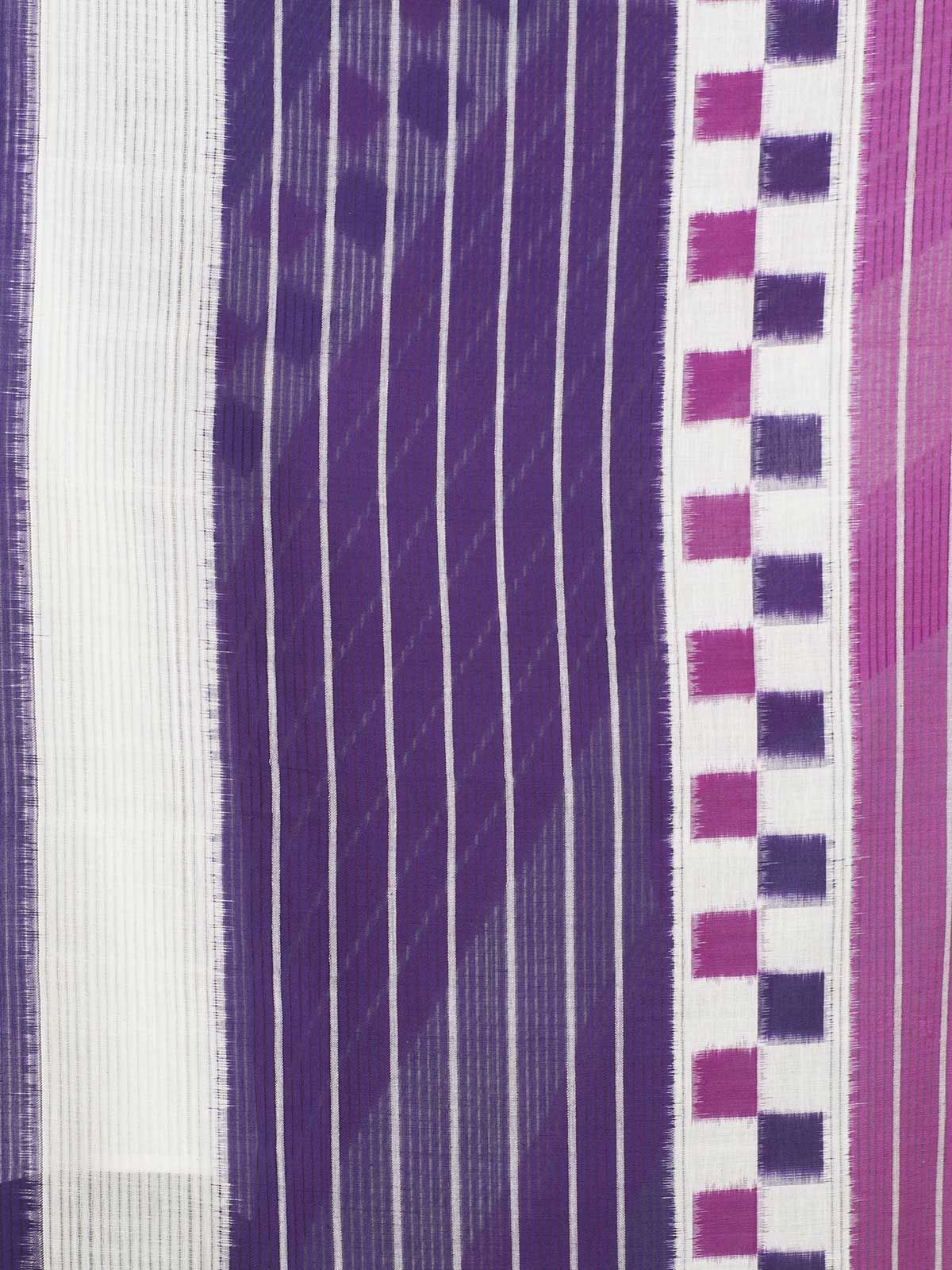 Purple pink stripes ikat cotton dupatta