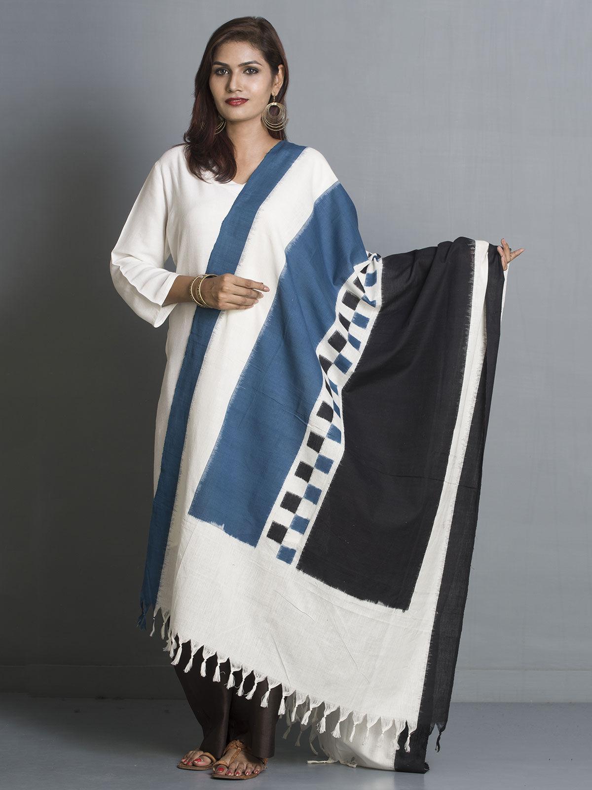Blue and black ikat cotton dupatta