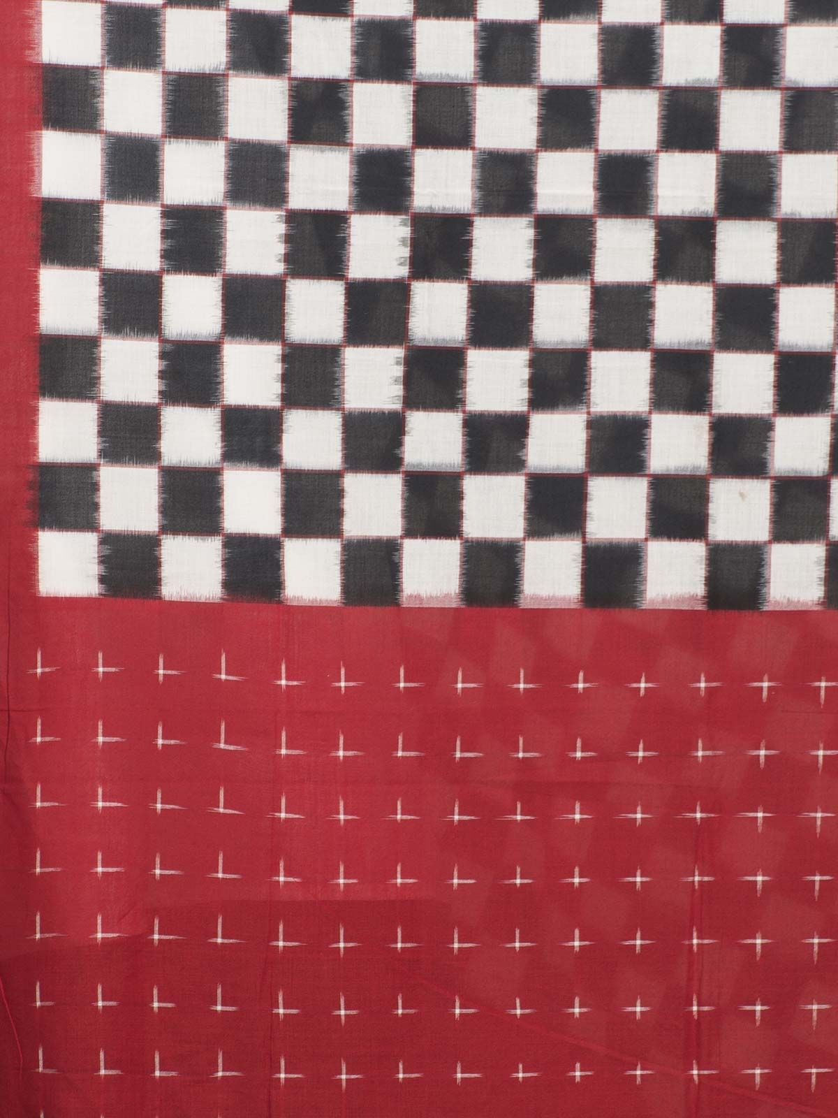 Red and black ikat cotton check print dupatta