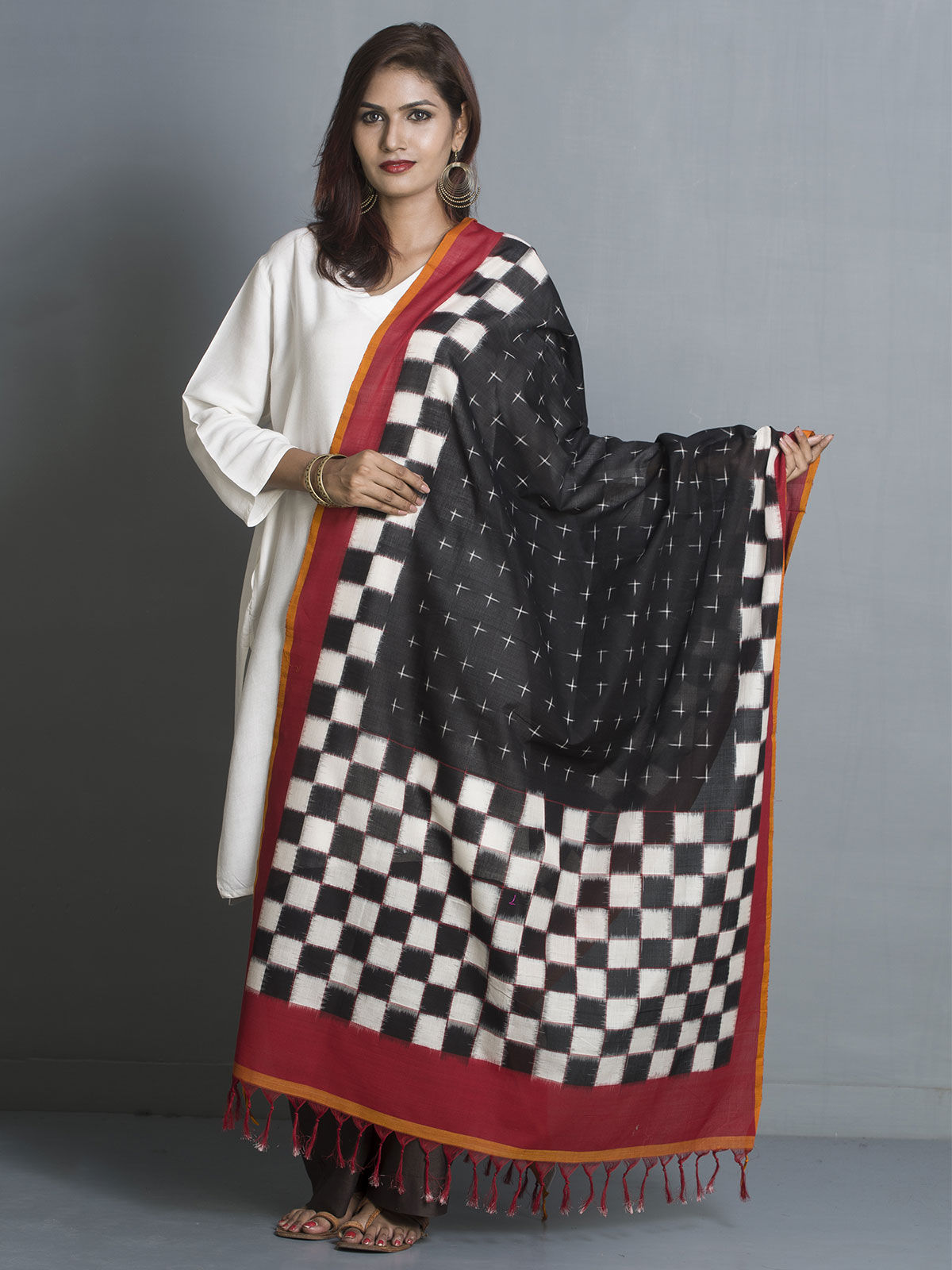 Red and black ikat cotton dupatta