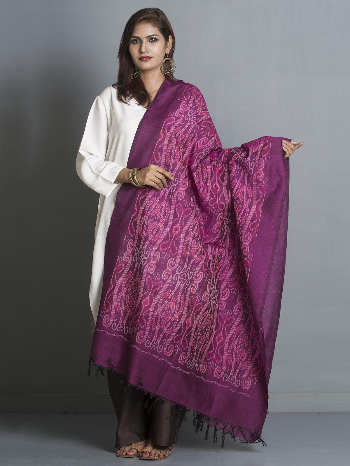 Pink cotton silk ikat dupatta