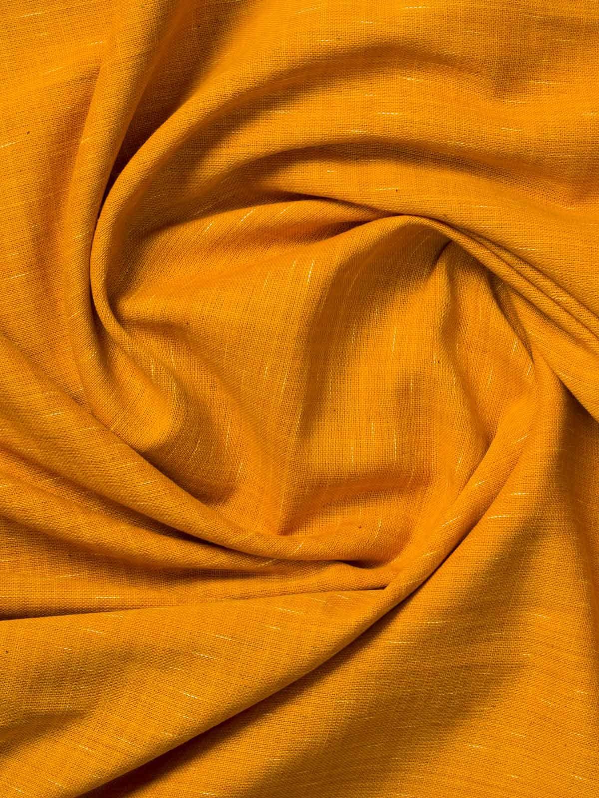 Carrot orange color handloom cotton fabric