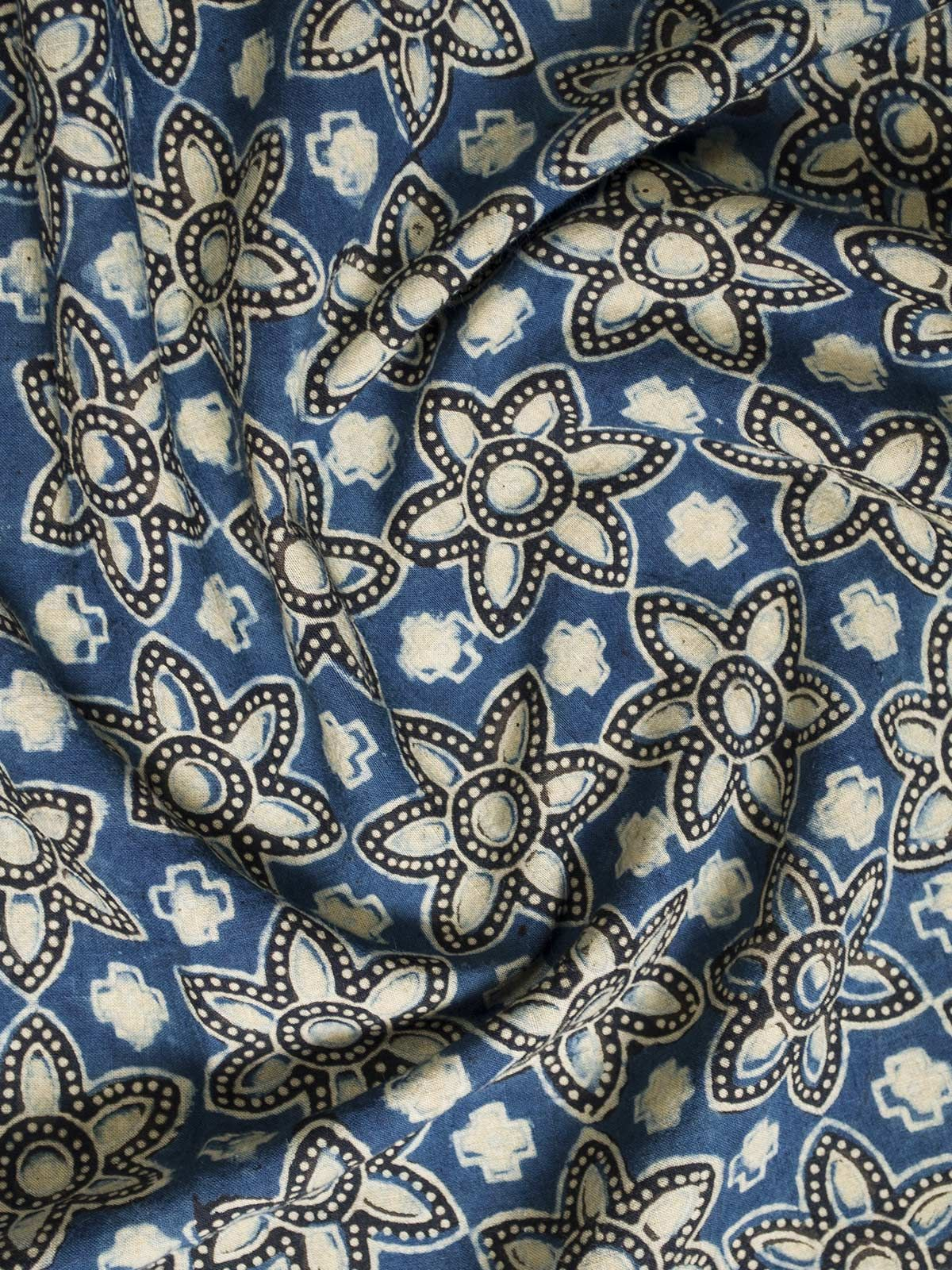 Blue and Cream Ajrak Block Print Cotton Fabric