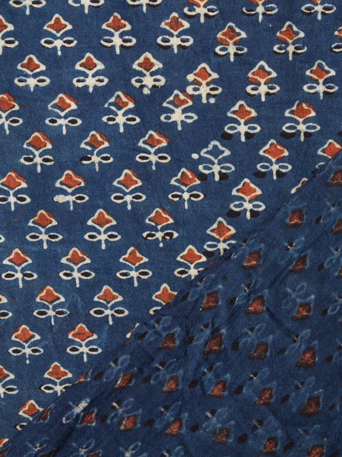 Blue Ajrak Block Print Cotton Fabric