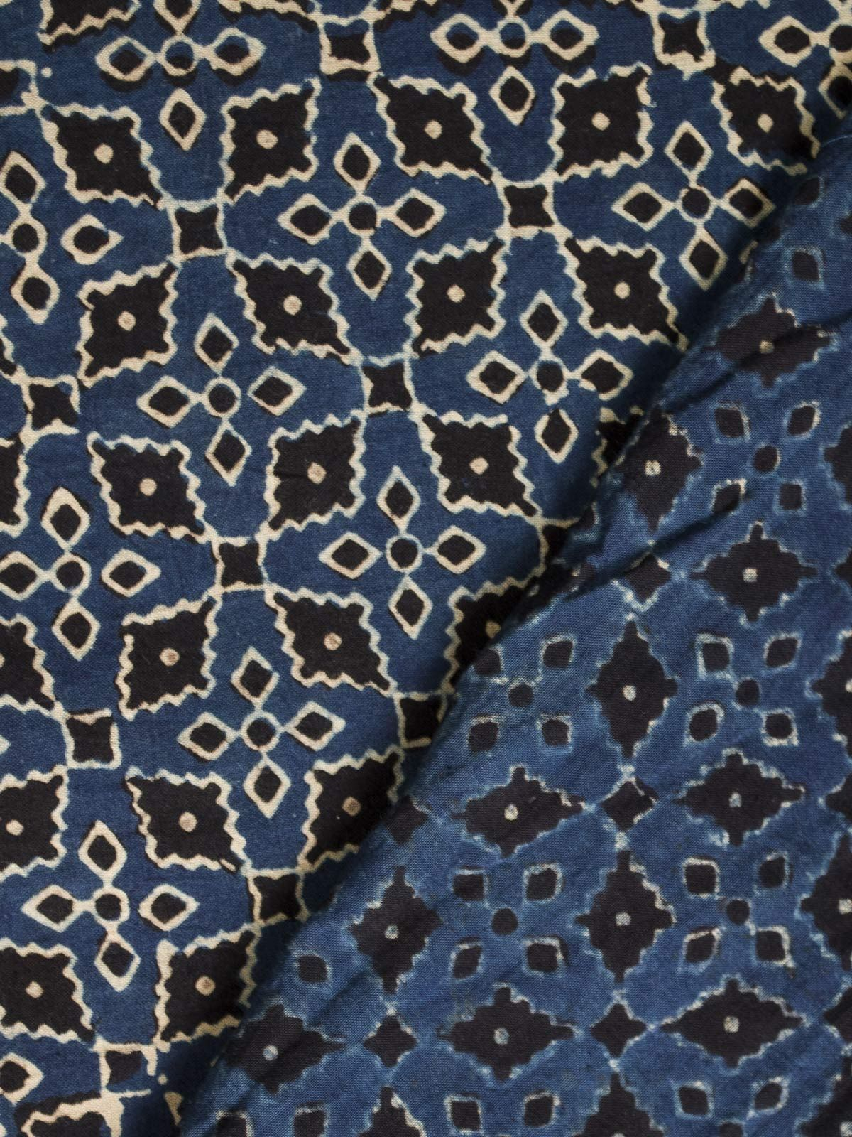 Blue and Black Ajrak Block Print Cotton Fabric