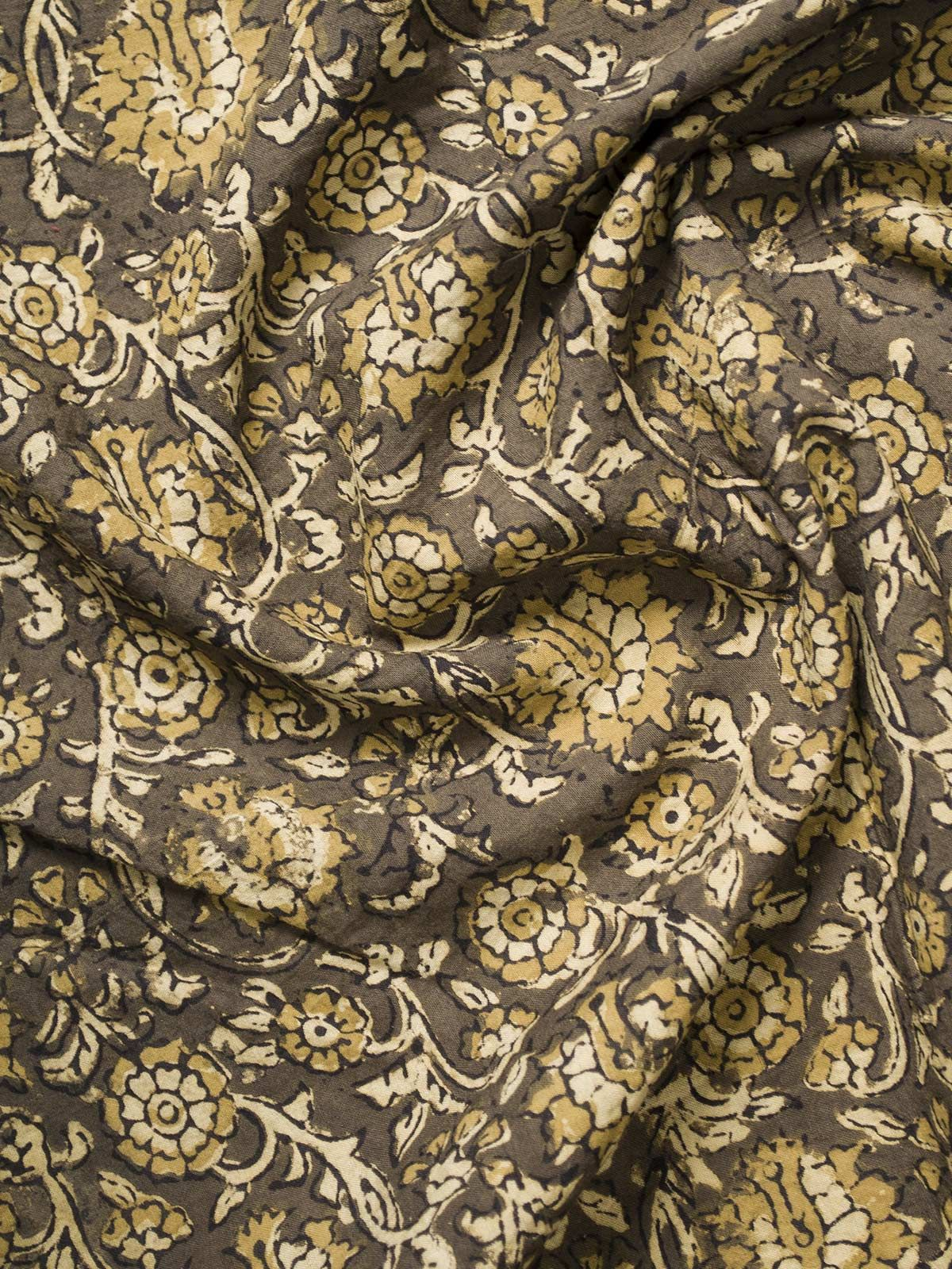 Olive Green Ajrak Block Print Cotton Fabric