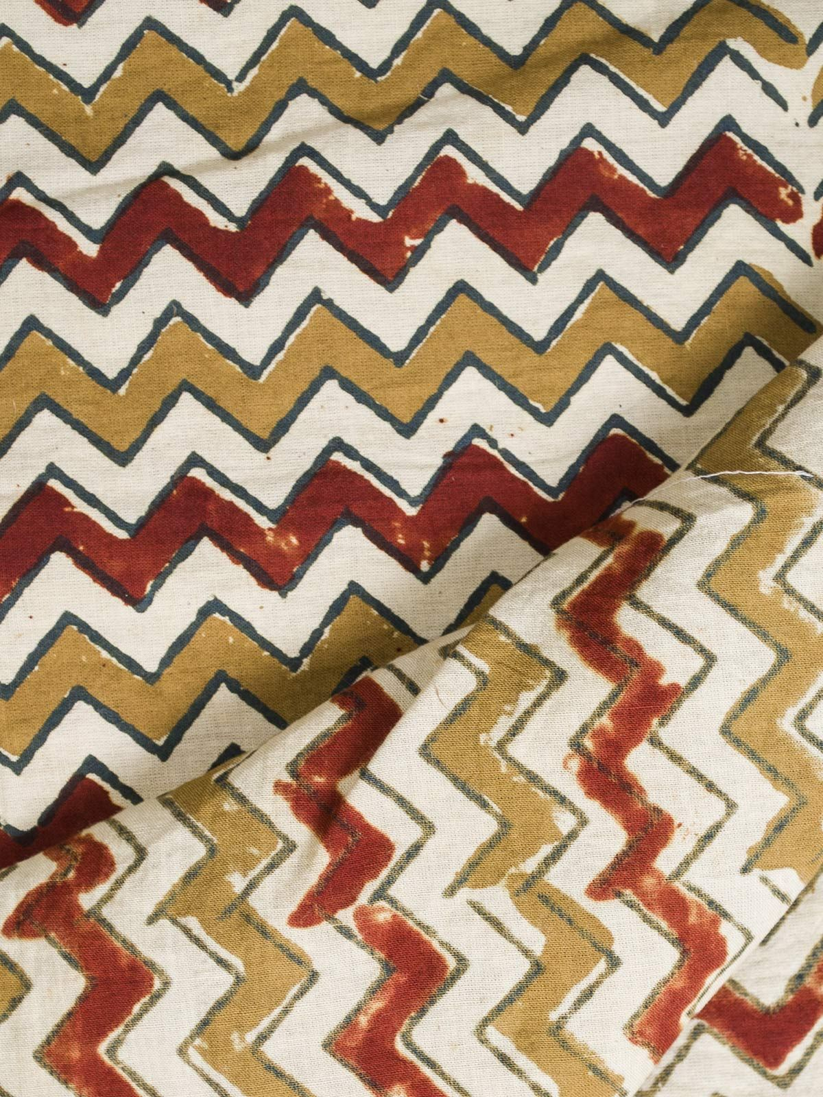 Red and Mustard Ajrak Block Print Cotton Fabric