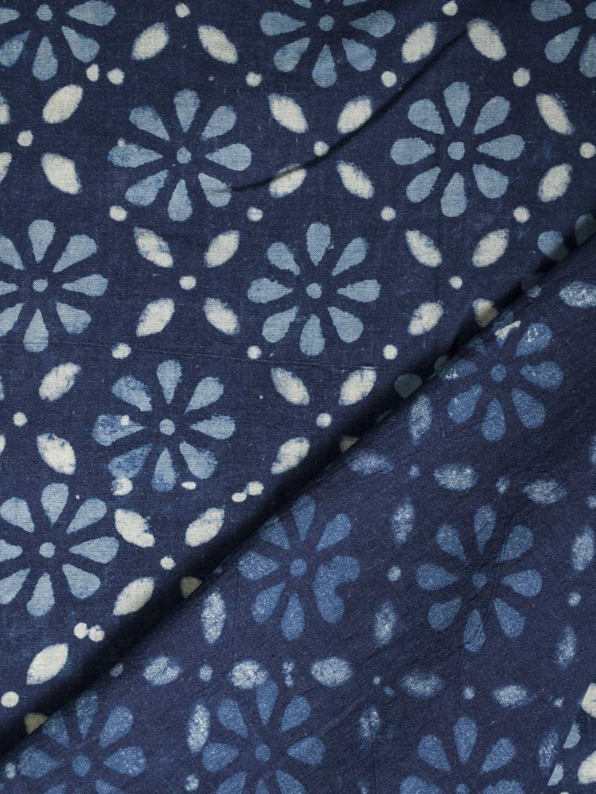 Indigo Dabu Block Print Cotton Fabric