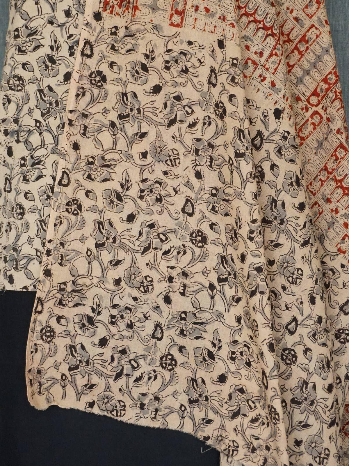 Beige-Black kalamkari cotton dress material with dupatta