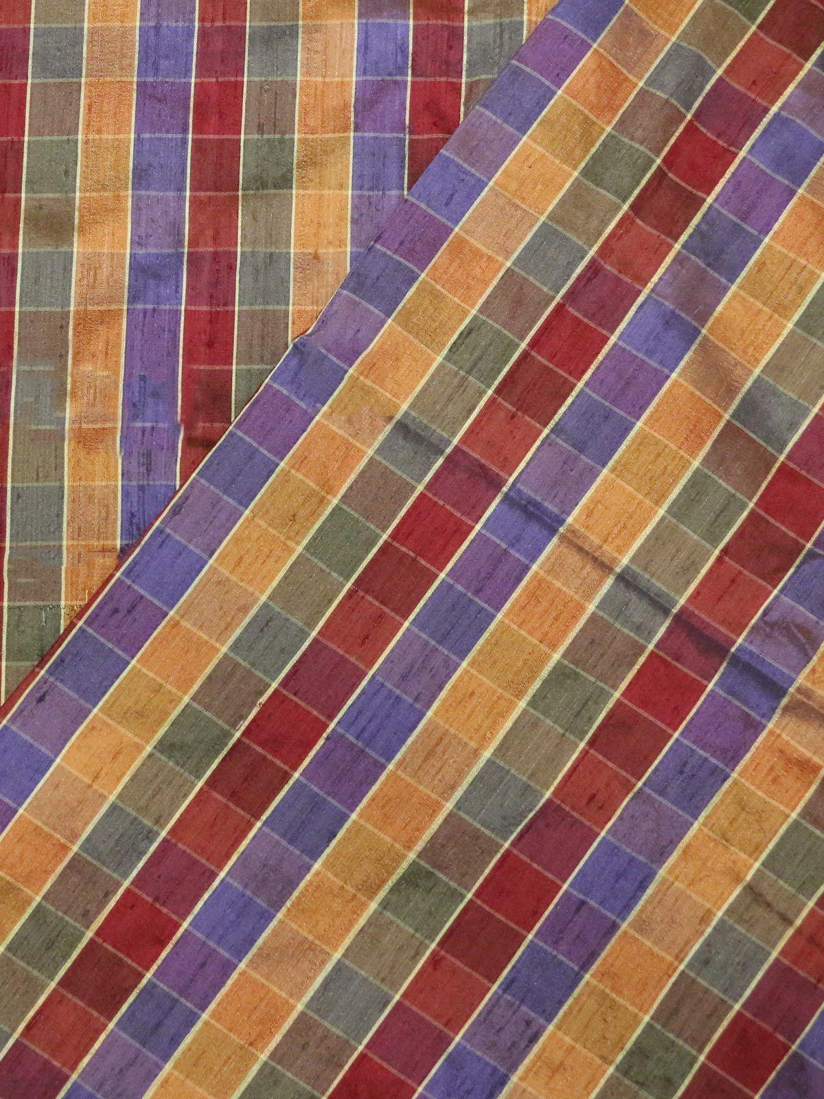 multi color raw silk fabric