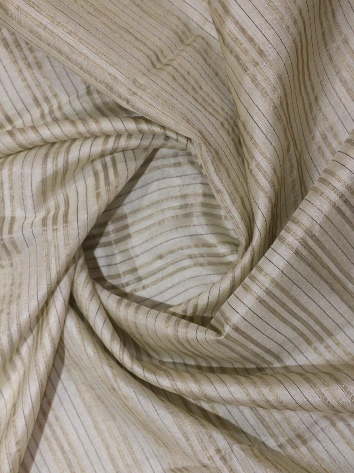 Natural offwhite tusser stripes silk fabric