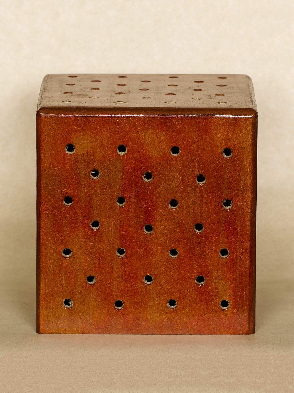 Brown Cube Wooden Floor Lamp