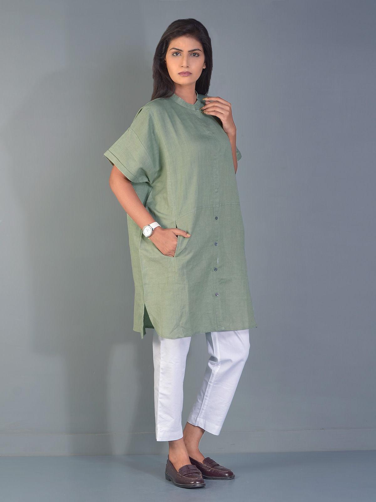 Olive Green Kent Linen Shirt