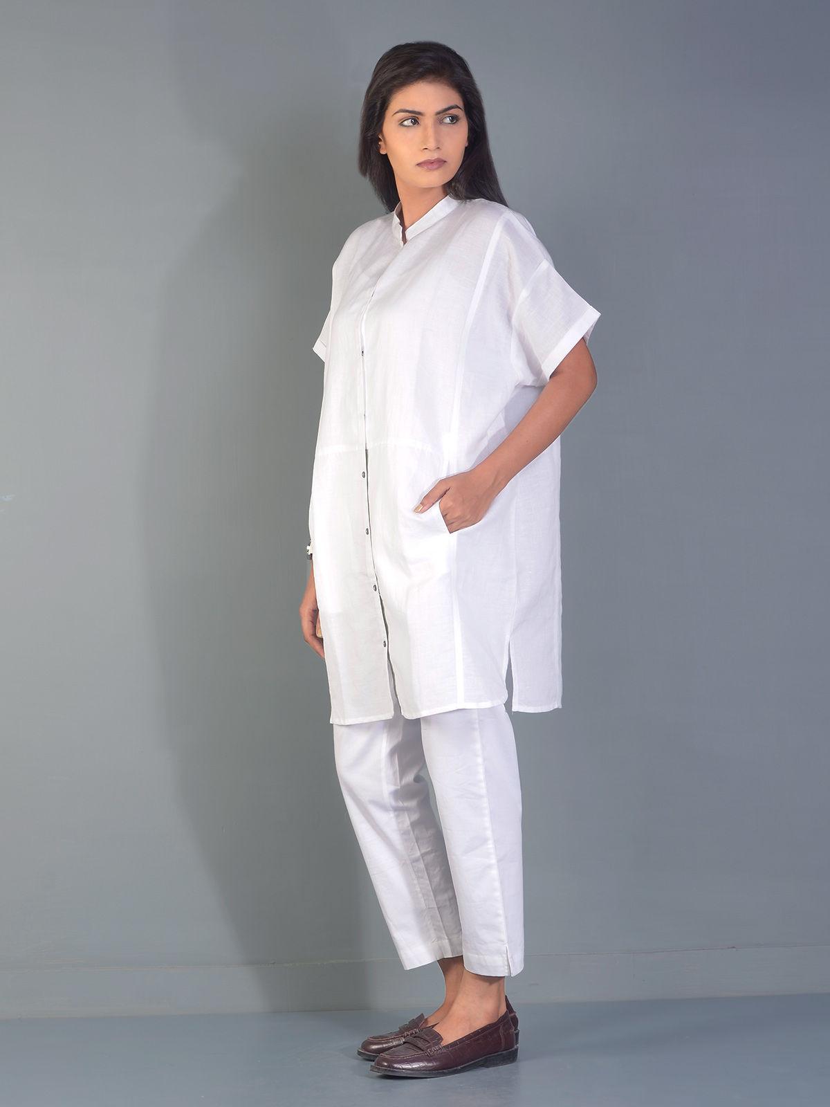 Smoke White Kent Linen Shirt